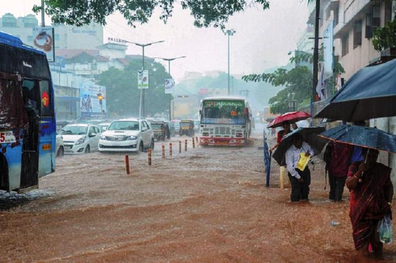 rainfall block the road